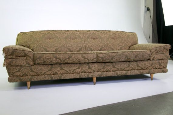 Vintage 1950s MCM Atomic Custom Made High End Constructed Sofa   Extra Deep  Seats Extremely COMFORTABLE   UP For Custom Restoration Order