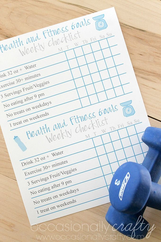 free printable  health and fitness goal checklist
