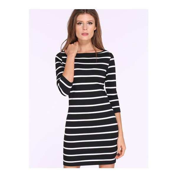 67b7065d991 SheIn(sheinside) Black White Long Sleeve Striped Bodycon Dress ( 18) ❤  liked on Polyvore featuring dresses