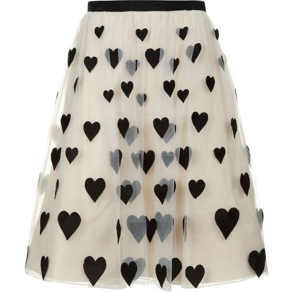 Alice + Olivia Catrina Embroidered Midi Skirt Off White/Black  ... found on Polyvore featuring skirts, bottoms, alice + olivia, calf length skirts, black and white midi skirt, alice olivia skirt y midi skirt