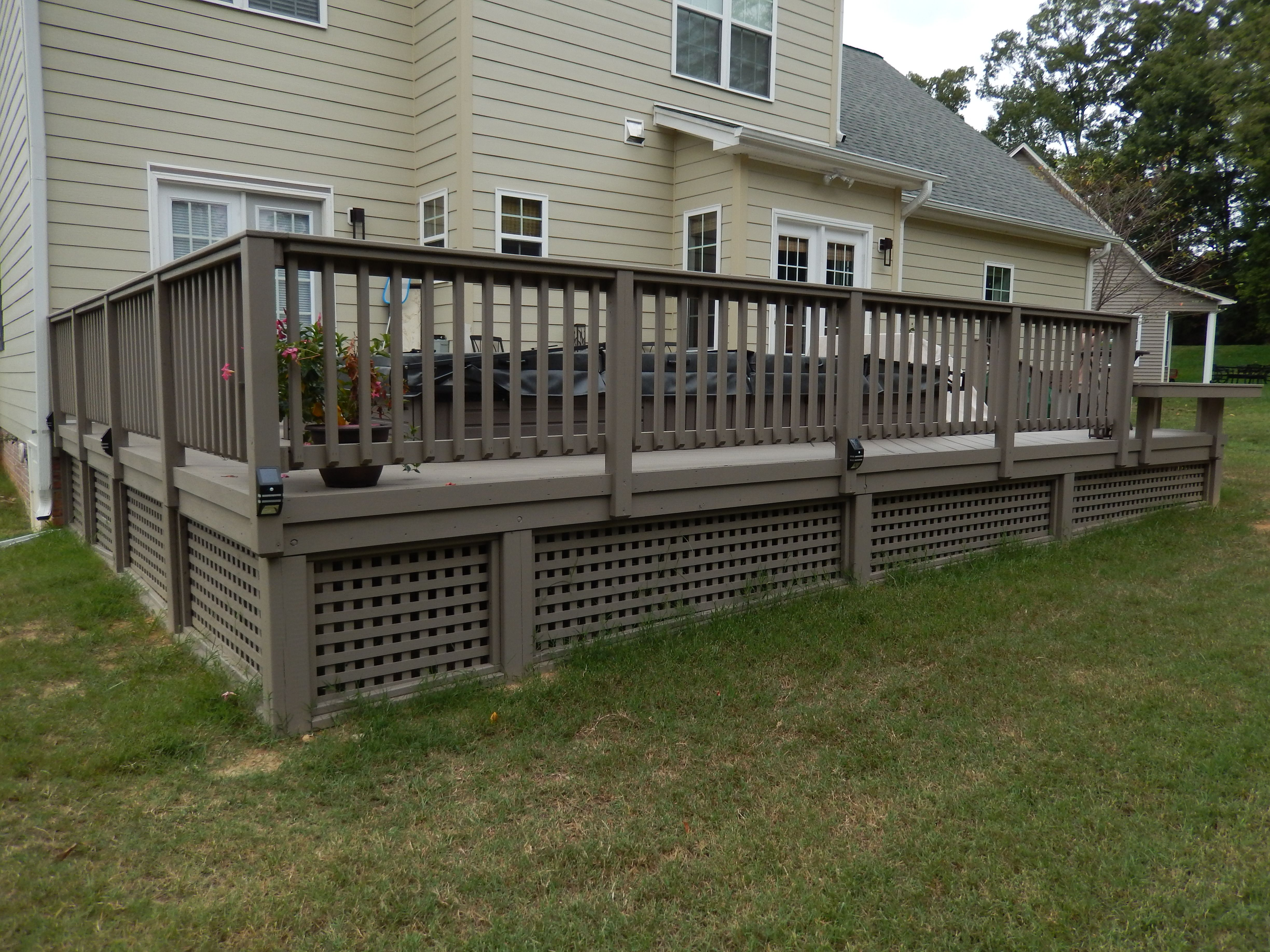 Lovely Low Maintenance Deck With Pool Spa Porch Design Deck Skirting Porch Patio