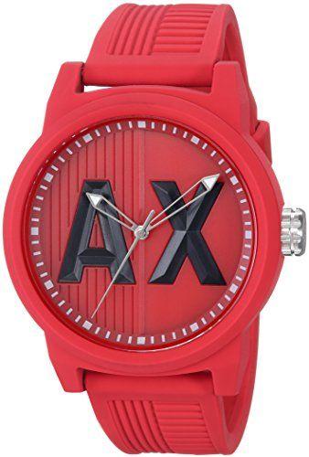 e67496369e5 Armani Exchange Men s AX1453 Red Silicone Watch  Watch