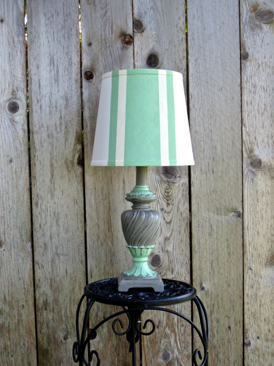 Small Table Lamp French Provincial Distressed Mint Green Taupe Gray Striped  Lampshade Hand Painted Annie Sloan