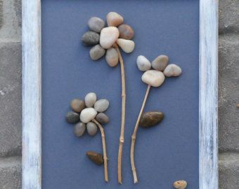 "Pebble Art / Rock Art Flowers, flower bouquet, spring, any occasion, friendship gift, 8.5x11 ""open"" wood frame (FREE SHIPPING)."