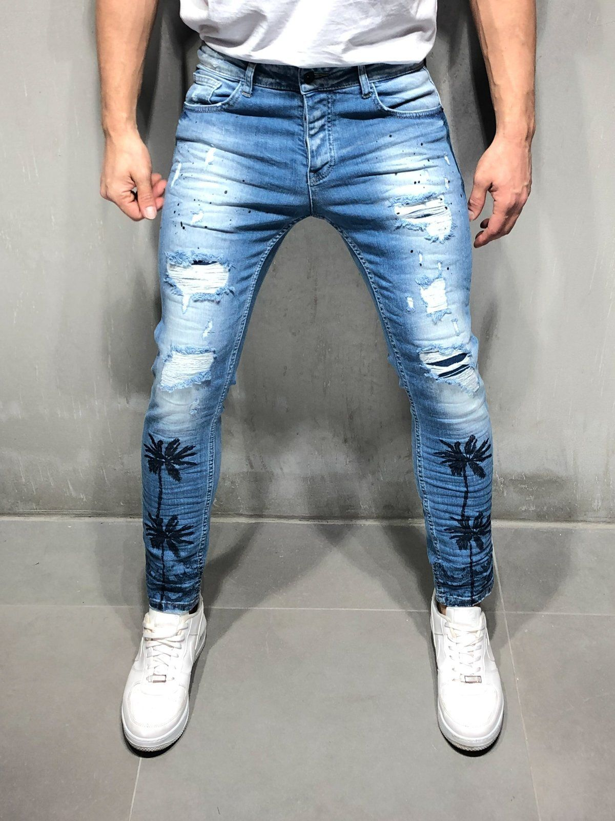 557005832ad Random Ripped Jeans Palm Tree Print Short Outfits, Cargo Jeans, Denim Jeans  Men,