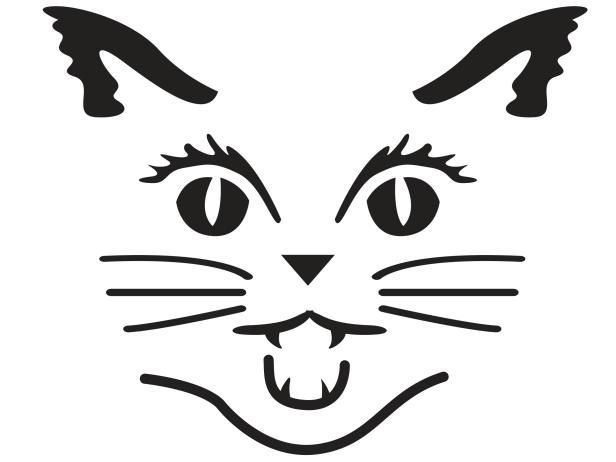 pumpkin template cat face  Download Cat face pumpkin carving pattern stencil template ...