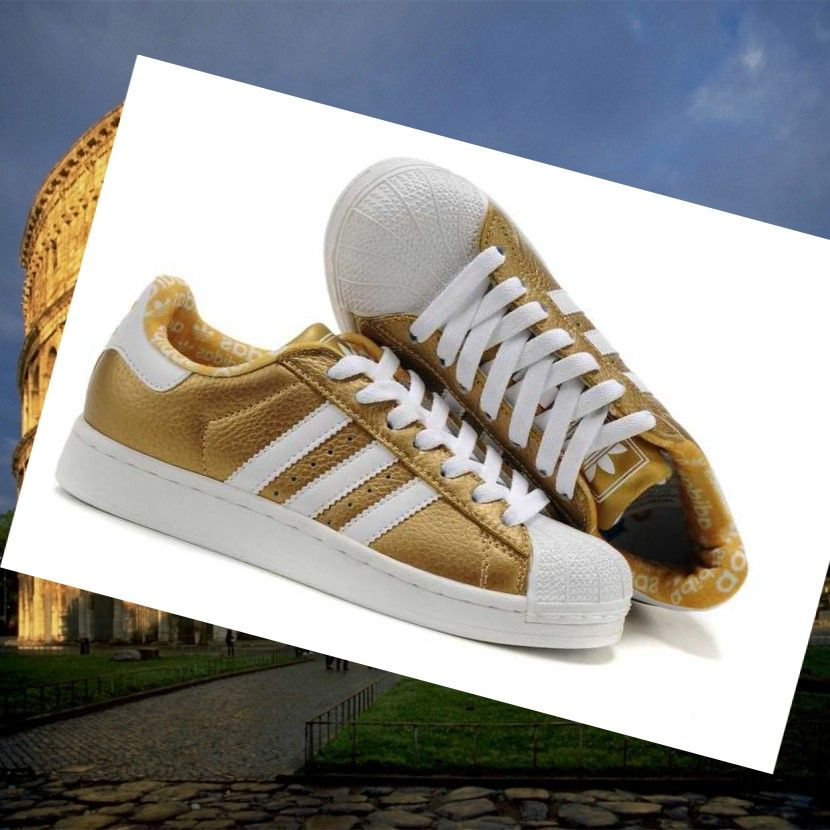 White Gold Charming Adidas Superstar 2 Bling Leather Shoes