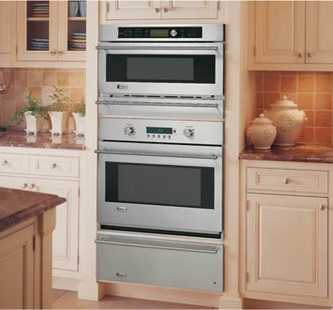 Built In Ovens With Advantium Technology Can Go Wherever They Re Needed Most Over A Monogram Warming Drawer Wall Oven Outdoor Kitchen Appliances Kitchen Design
