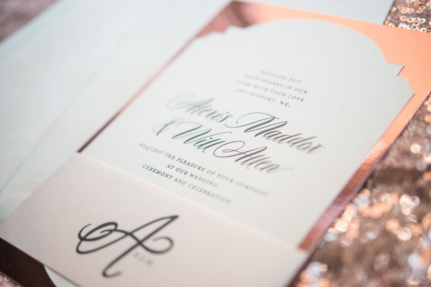 Rose Gold Wedding Invitation custom monogram