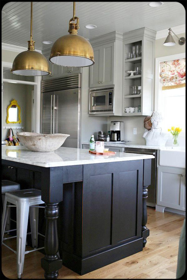 Amazing Kitchen Brass Lights Marble Counters Planked