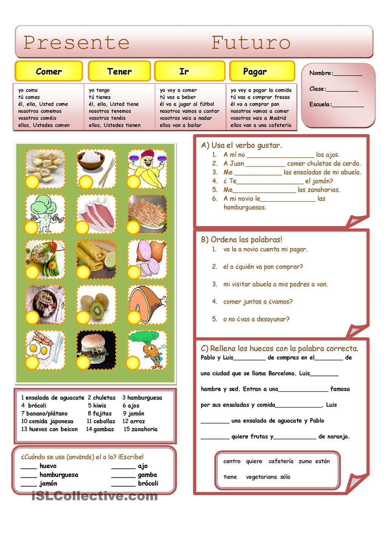 La comida | Secondary spanish topics | Pinterest
