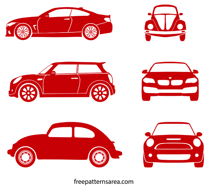 Car silhouette illustration Vector | Outline Templates. | FreePatternsArea