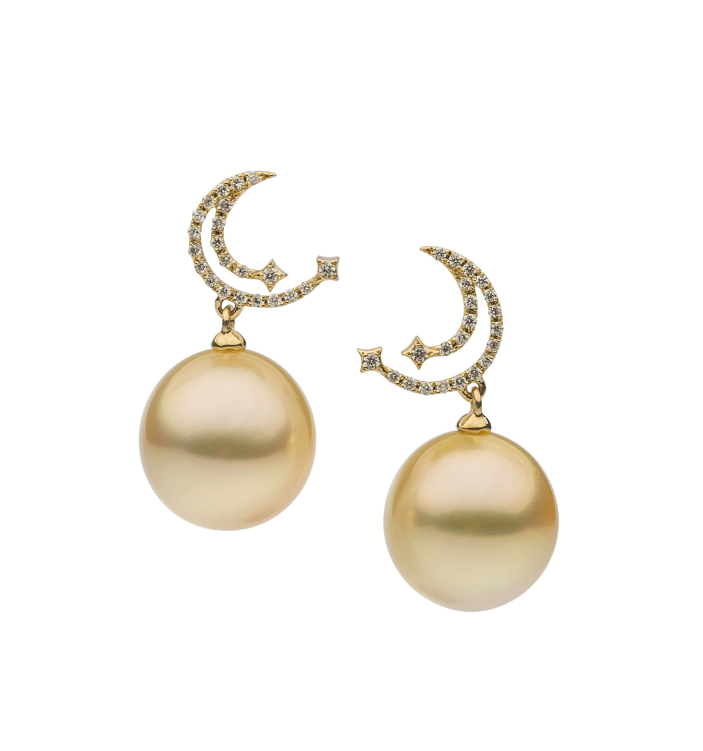 moon autore pin yellow sea south and white gold diamonds earrings pearls