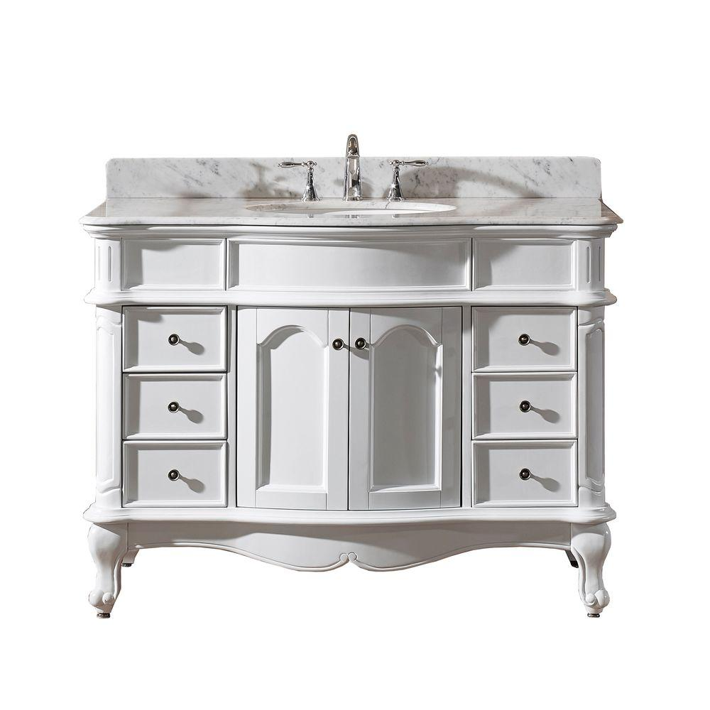 Virtu USA Norhaven 48 in. Vanity in White with Marble Vanity Top in ...