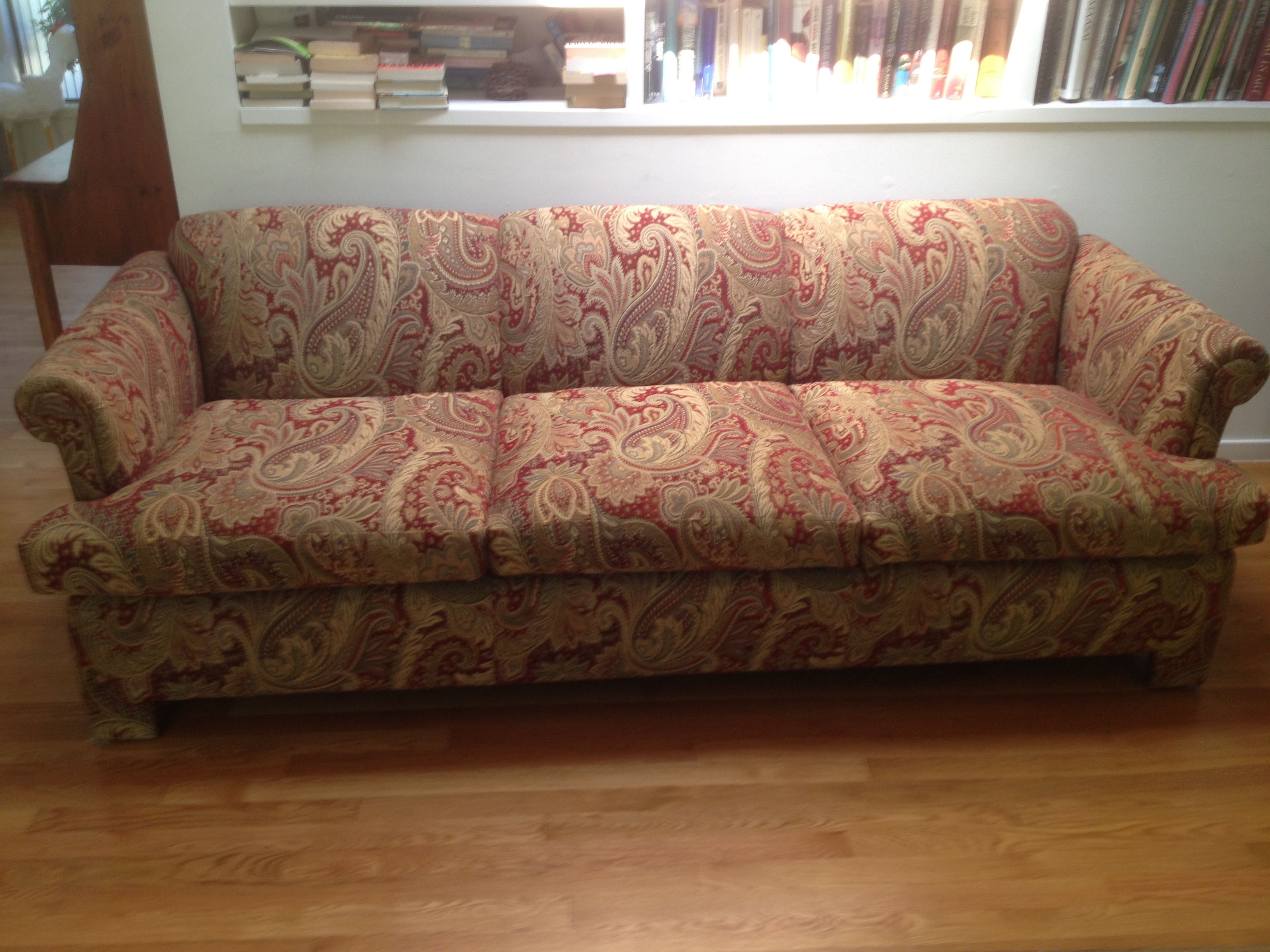 Reupholstered 3 Cushion Back Sofa With A Repeat