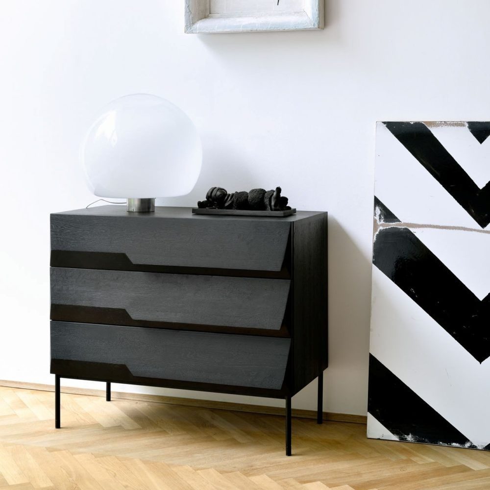 50436 Oak Black Stairs Chest Of Drawers Ethnicraft Kokwooncenter