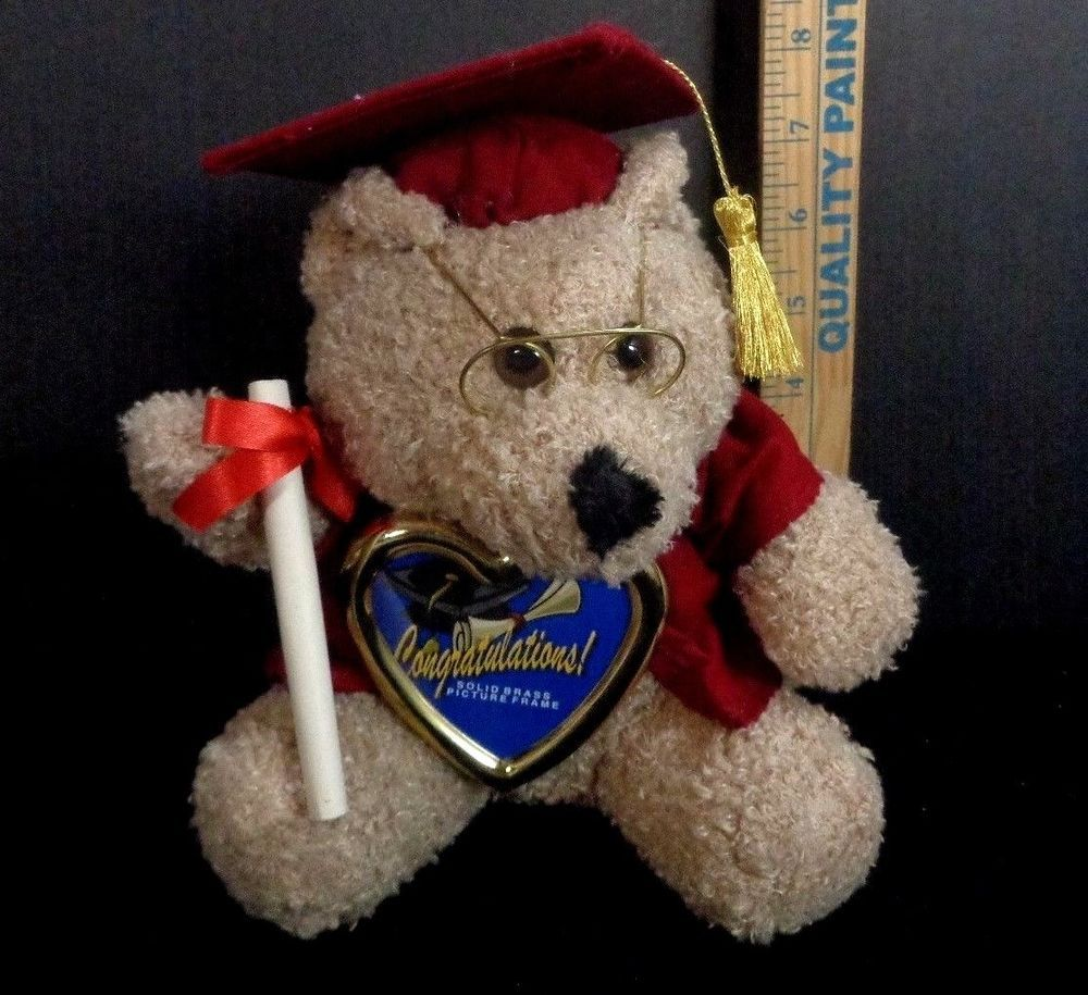 Brown Graduation Plush Teddy Bear Red Cap Gown Holding Picture Frame
