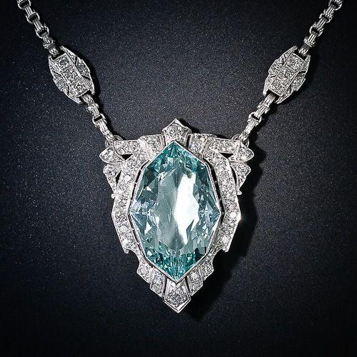 Art Deco Aquamarine and Diamond Necklace - 90-1-4270 - Lang Antiques