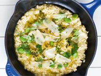 Broad bean risotto with chilli & lemon crumbs