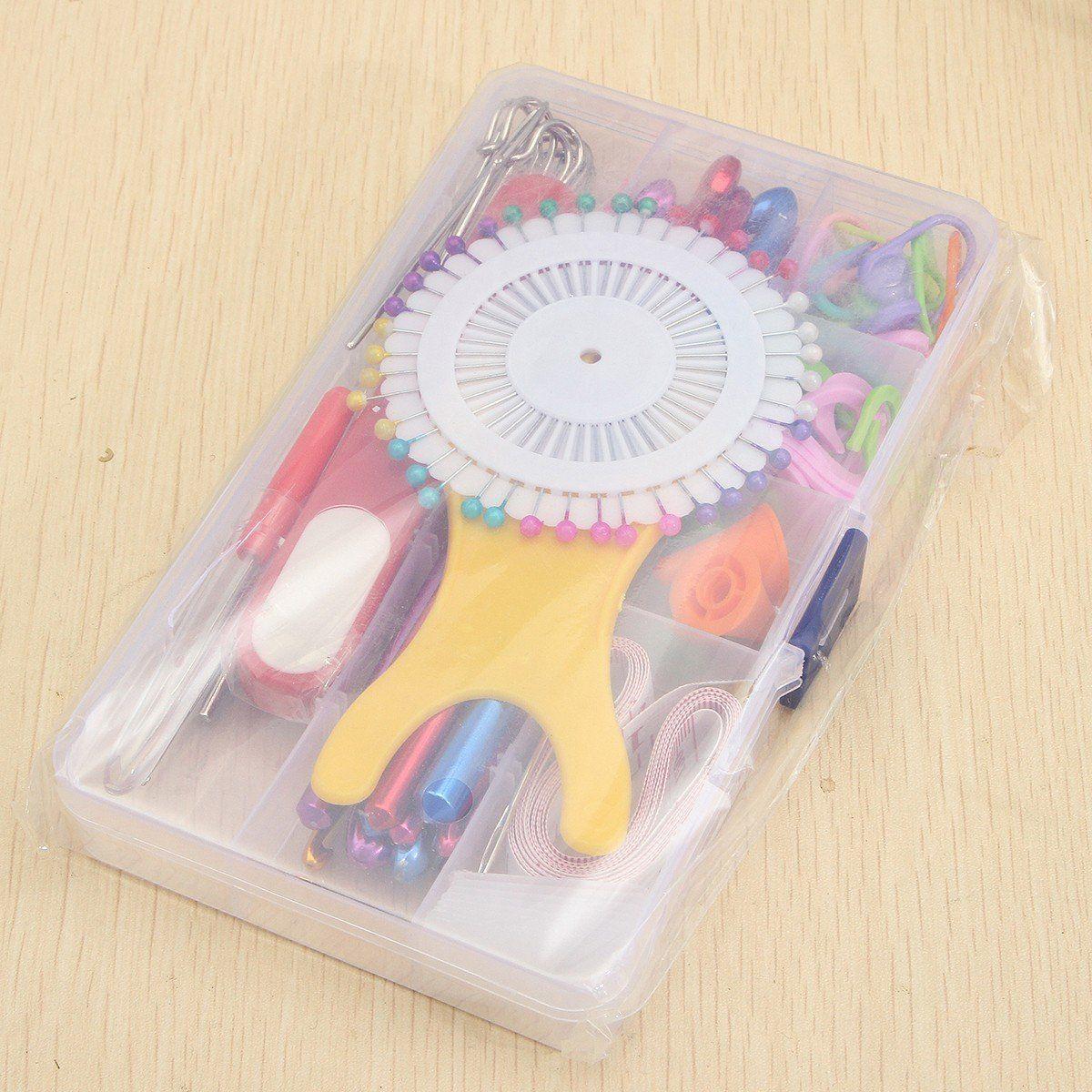 Set of 10 Multi Colour Soft Grip Handle Aluminum Crochet Hooks Knitting Needles