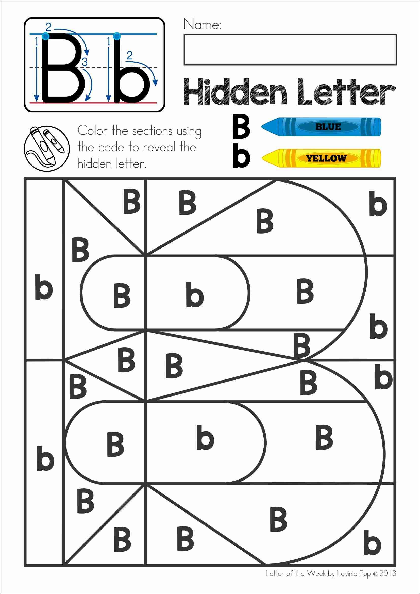 free phonics letter of the week b color by code to reveal the