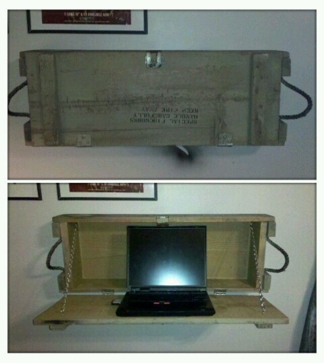Computer desk. Better pic. Made from a old munitions box. @Debra Eskinazi Stockdale Collins