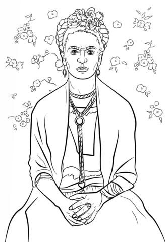 Frida Kahlo Coloring page | Art | Frida kahlo, Coloring ...