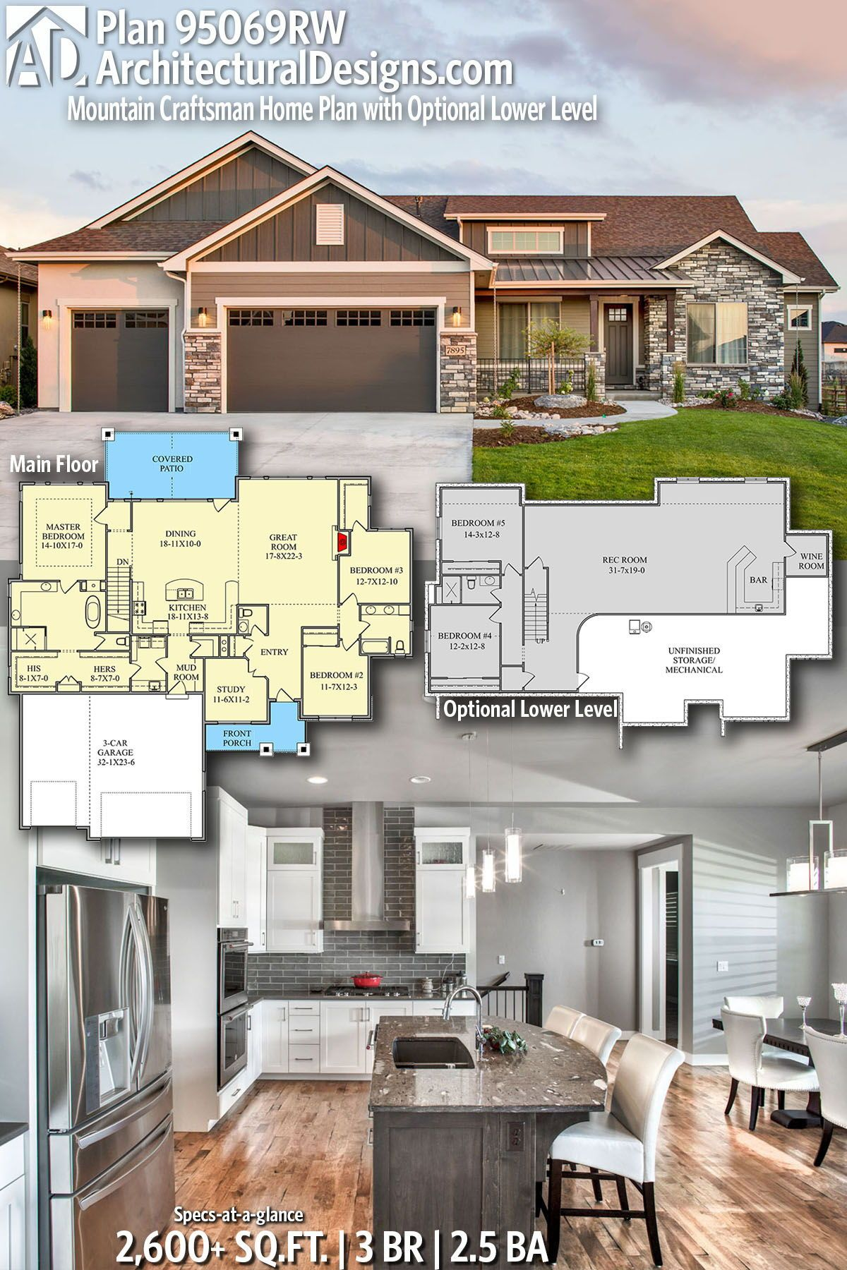 Plan 95069rw Mountain Craftsman Home Plan With Optional Lower Level Craftsman House Plans Craftsman House Dream House Plans