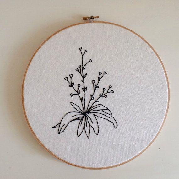 Large Botanical Minimalist Floral Embroidery Hoop Art Hand