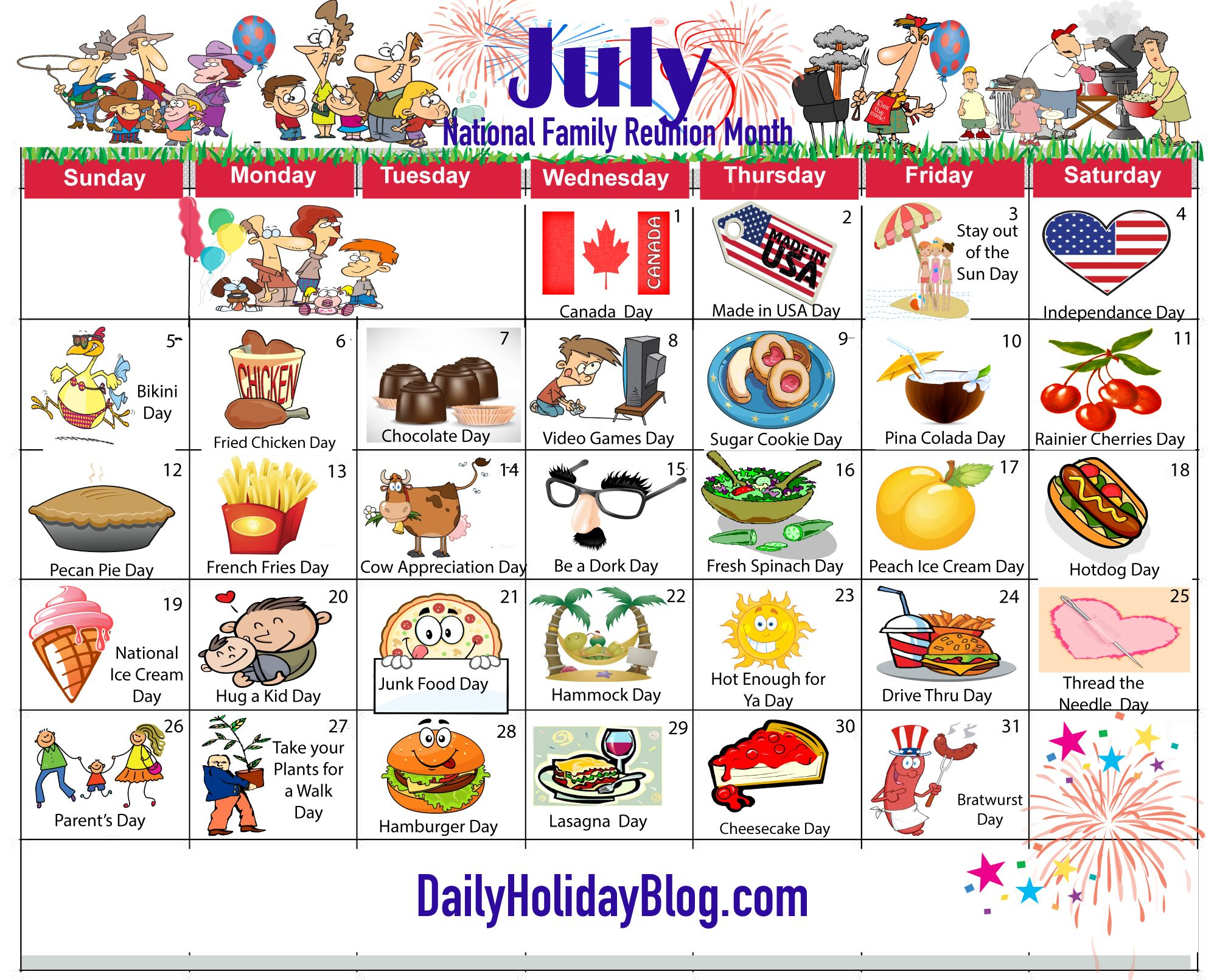 July Holiday Calendar   My Life Planner    Holiday