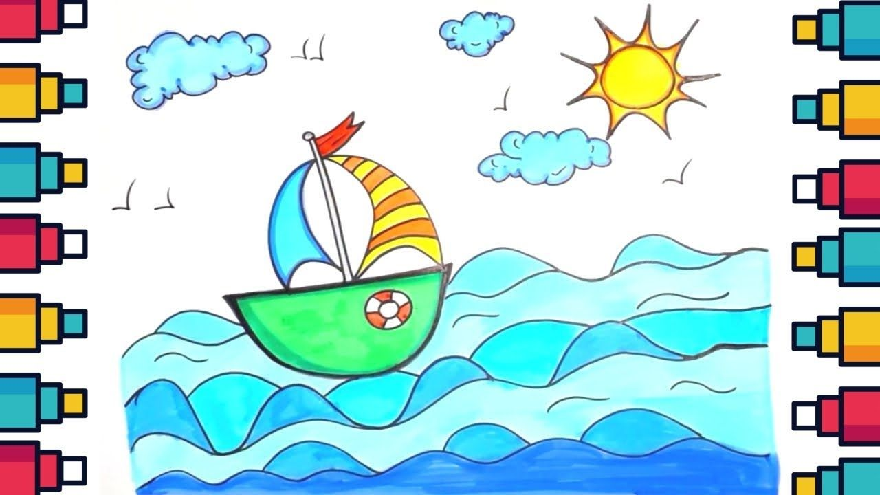 How To Draw Sailing Boat On Water With Clouds And Sun Drawing