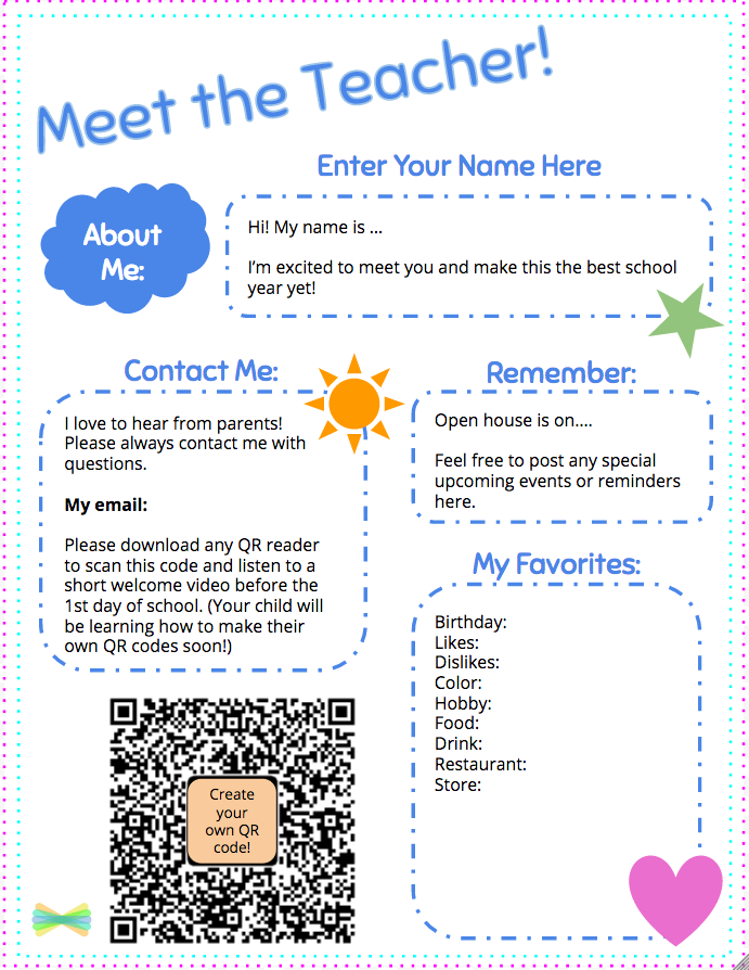meet the teacher template with seesaw welcome note back to school rh pinterest com