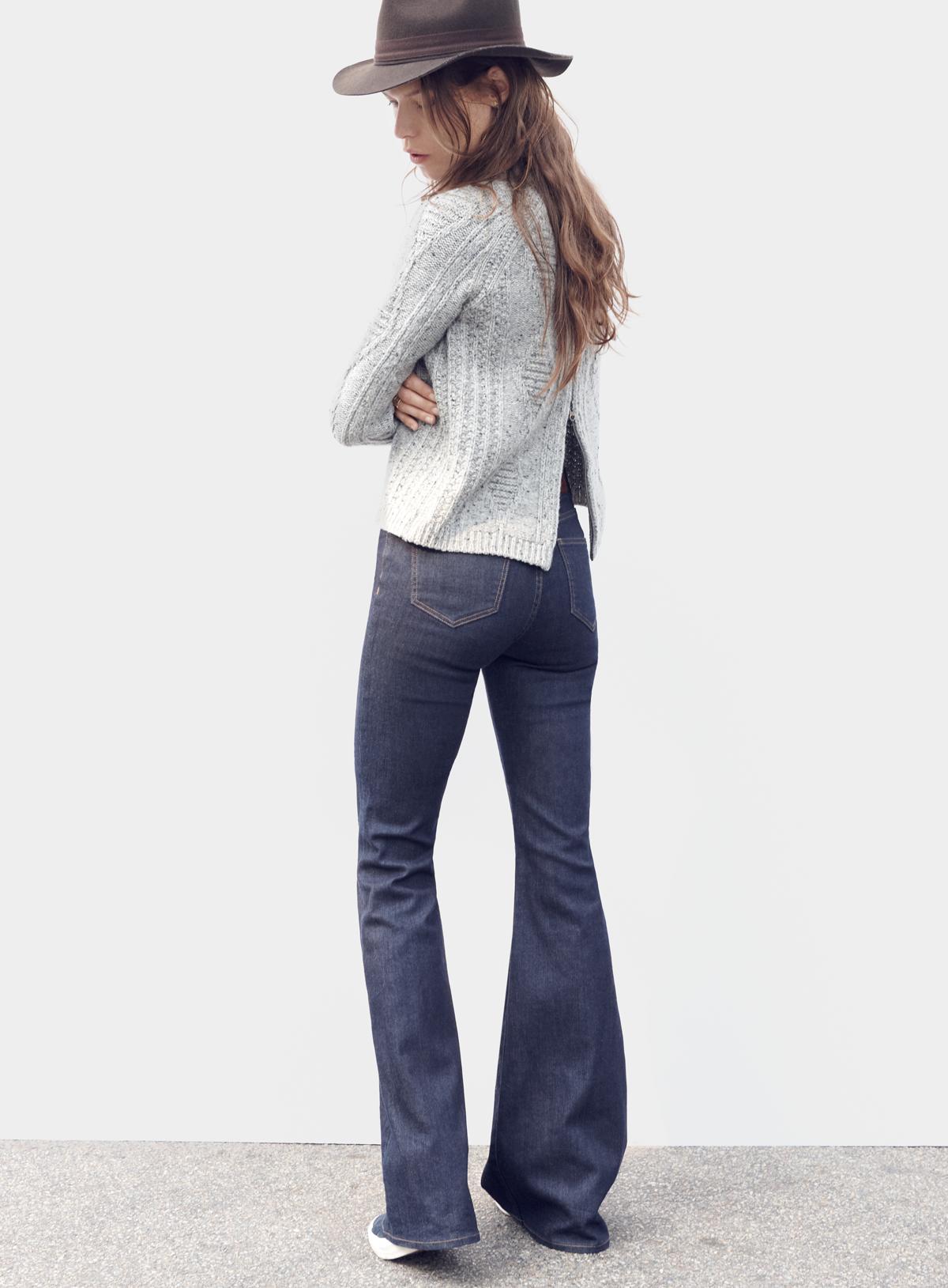 madewell palisade back-zip sweater worn with the flea market flares, madewell & biltmore® straight-brim felt fedora + vans® sk8-hi slim zip high-top sneakers. #denimmadewell