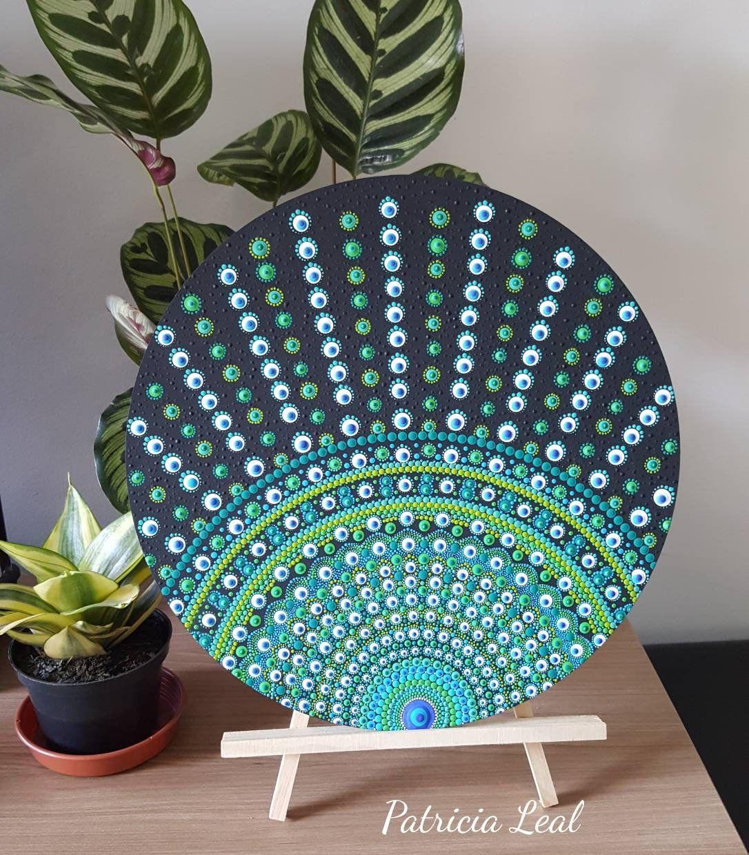 Peacock Mandala | Etsy | Rocks & More | Dot art painting
