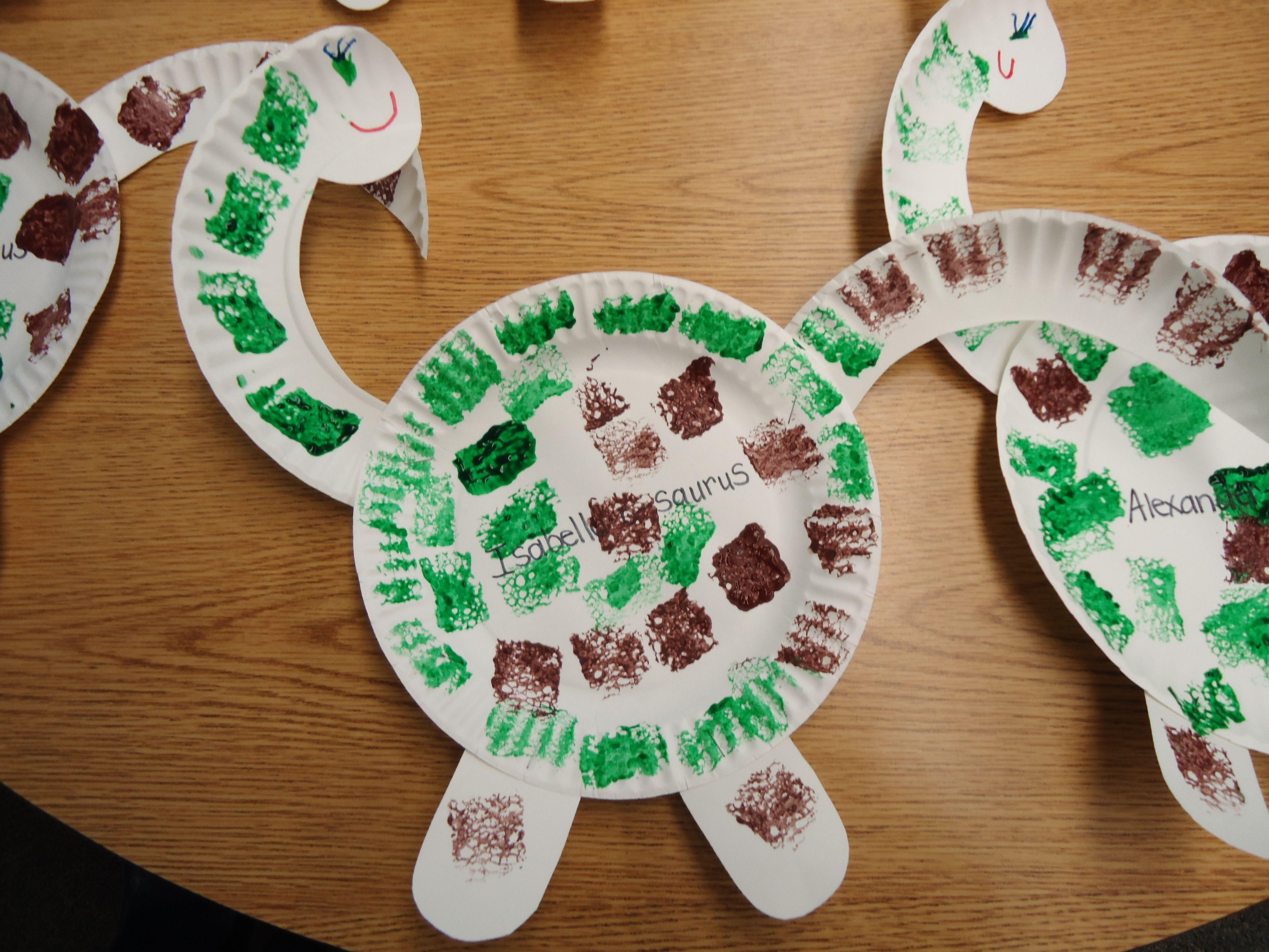 Sponge painting dinosaur my pre k art pinterest for Dinosaur crafts for preschool