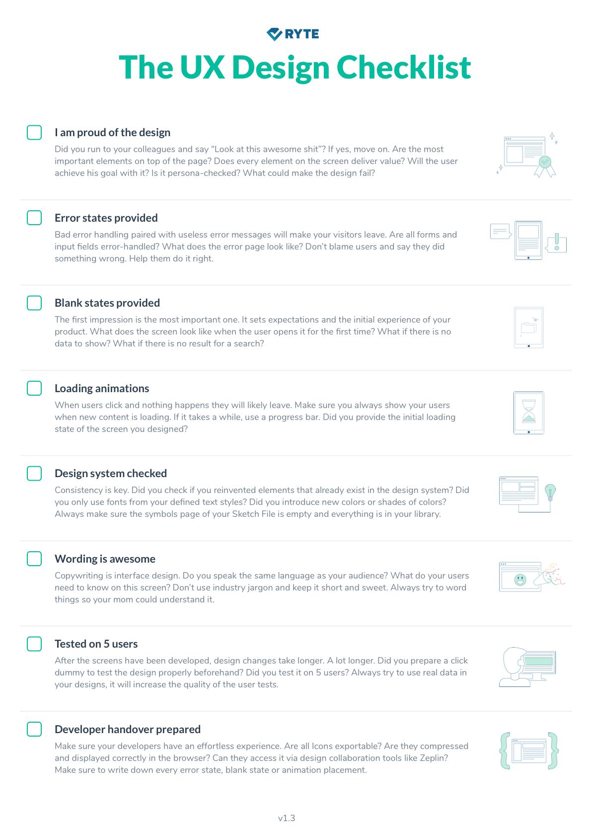 The Ux Design Checklist Softwaredesign The Ux Design Checklist Ryte Medium Ux Design Principles Ux Design Ux Design Portfolio