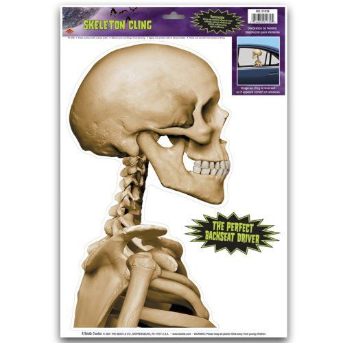 Beistle 01039 Skeleton Backseat Driver Car Cling, 12-Inch by 17-Inch