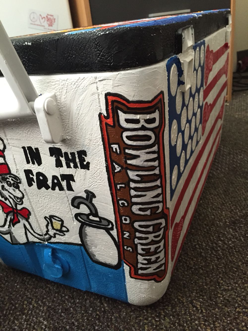 Delta chi fraternity painted cooler bowling green