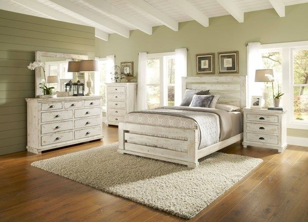 progressive furniture willow distressed white 2pc bedroom set with rh pinterest com