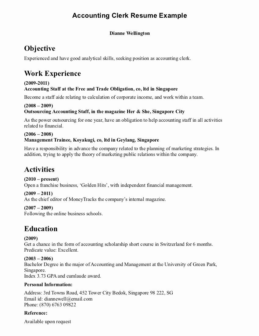Clerical Cover Letter Examples Elegant Accountant Lamp Picture Accounting Clerk Resume Samples Resume Objective Examples Resume Objective Sample Resume