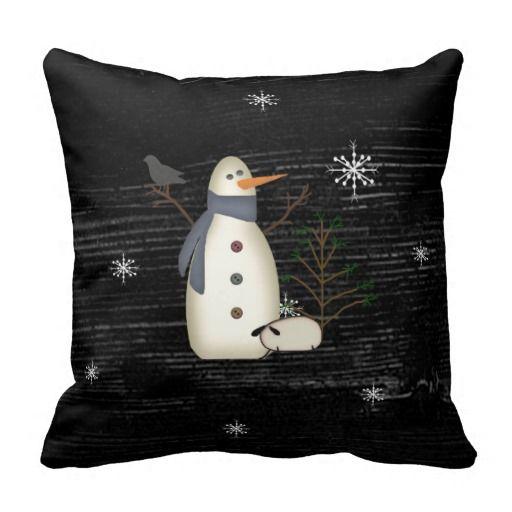 Primitive Snowman Pillow #pillows #homedecor #christmas