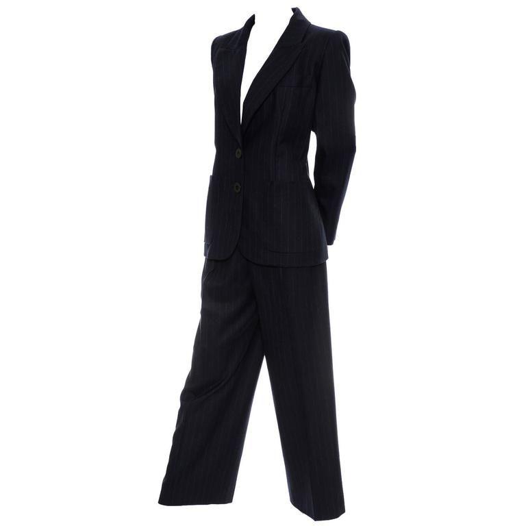 Yves Saint Laurent YSL Vintage Midnight Pinstripe Pantsuit Cashmere Wool 40 1