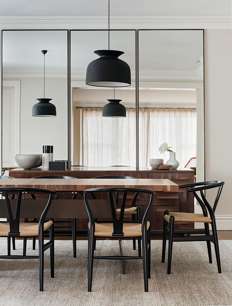 Modern dining area with pendant light and