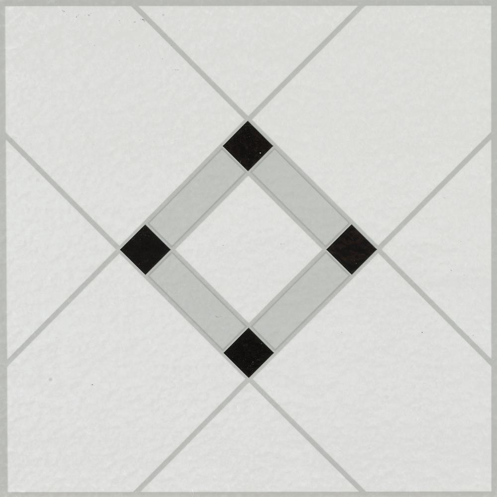 Armstrong Lattice Lane Black White 12 In X 12 In Residential Peel And Stick Vinyl Tile Flooring 45 Sq Ft Case 25280011 The Home Depot Vinyl Tile Peel And Stick Floor Peel And Stick Vinyl