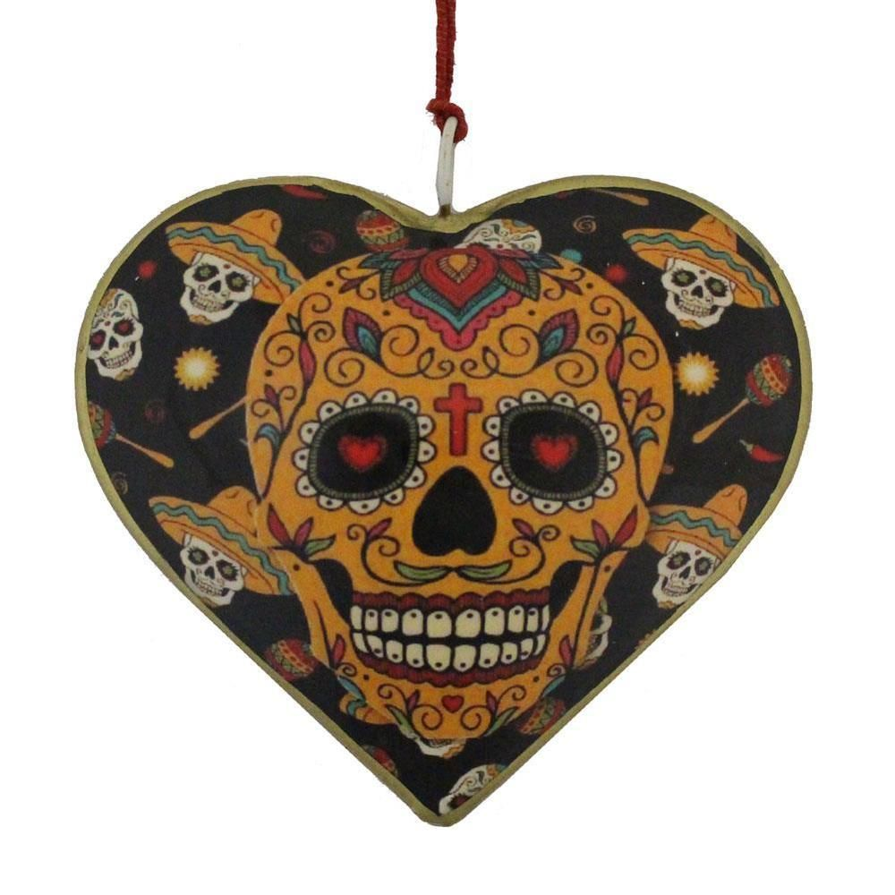Metal heart ornaments - If You Love Sugar Skulls This Painted Metal Heart Ornament Is For You Get Yours Today At Purple Leopard Boutique Free Us Shipping