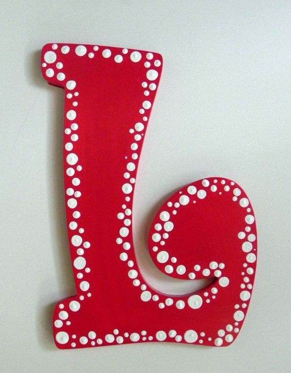 dotted hand painted letter to match room dcor by sassypeasdesigns