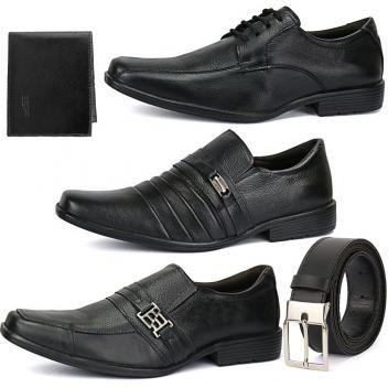 78f4744d1 Kit 3 Pares Sapato Social Em Couro Bico Fino Com Cinto E Carteira - Ws shoes