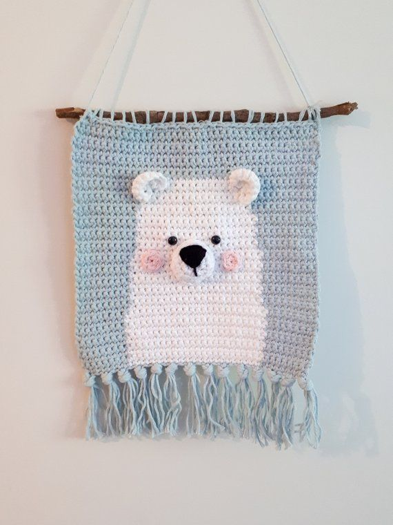 Polar Bear Nursery Wall Decor Crochet Pattern Diy Baby Room