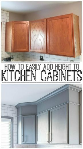 how to easily add height to your kitchen cabinets projects to try rh pinterest com