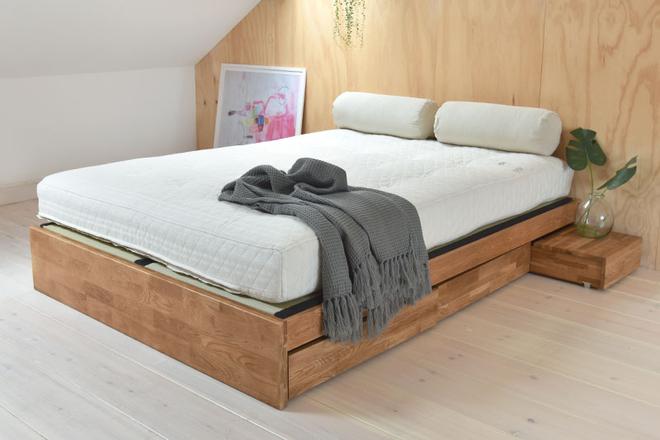 Oak Platform Kingsize Storage Bed Diy storage bed, Bed